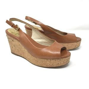 Michael Michael Kors Peep Toe Platform Wedge Tan 7